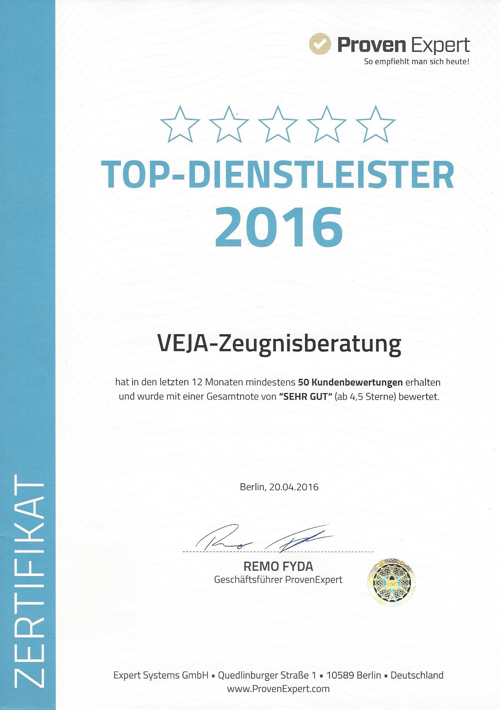 Urkunde Top-Dienstleister 2016